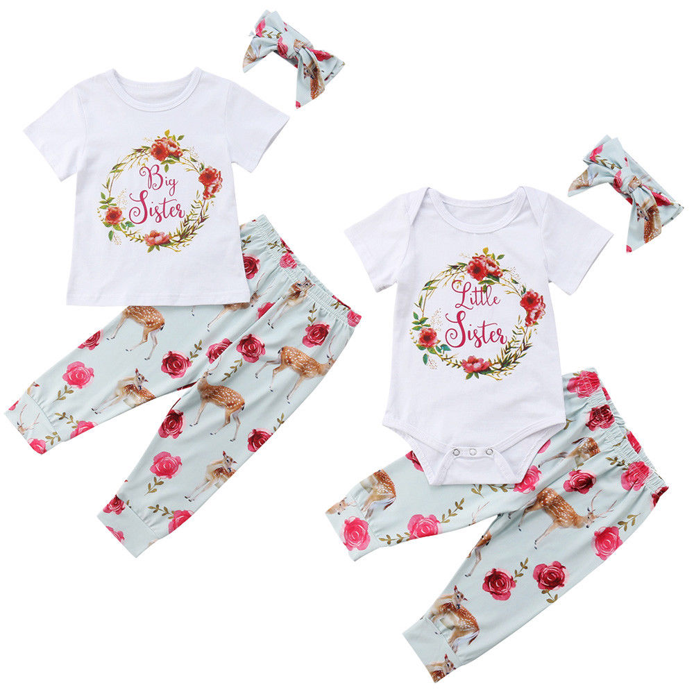 Big Little Sister Matching Clothes Wreath Romper Top Floral Pants Skirt Headband Outfits