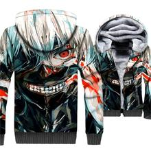 fashion 3D Printed mans jackets casual wool liner sweatshirts winter thick zipper coats Anime Tokyo Ghoul hoodies 2019 men top