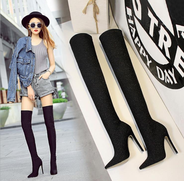 Tissu Automne argent Talon De Sexy Stiletto Pointu Sur Bottes Haute Noir Mode Discothèque Genou Brillant Super Sequin Le 2018 Mince gCFzwqC