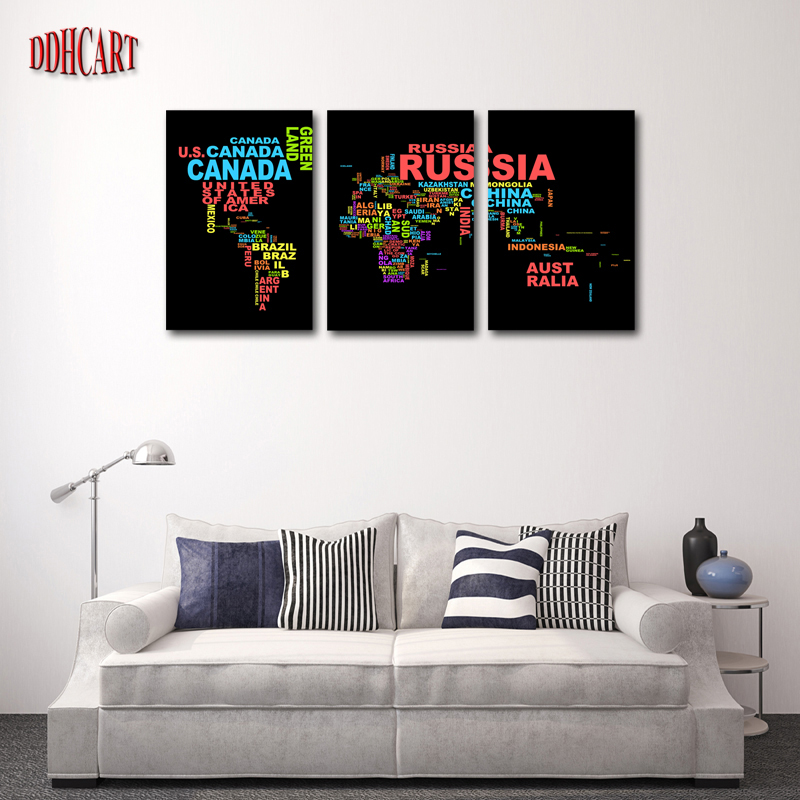 3 piece hot sell word map modern home wall decor canvas picture art hd print painting set of 5 - Sell home decor online collection ...
