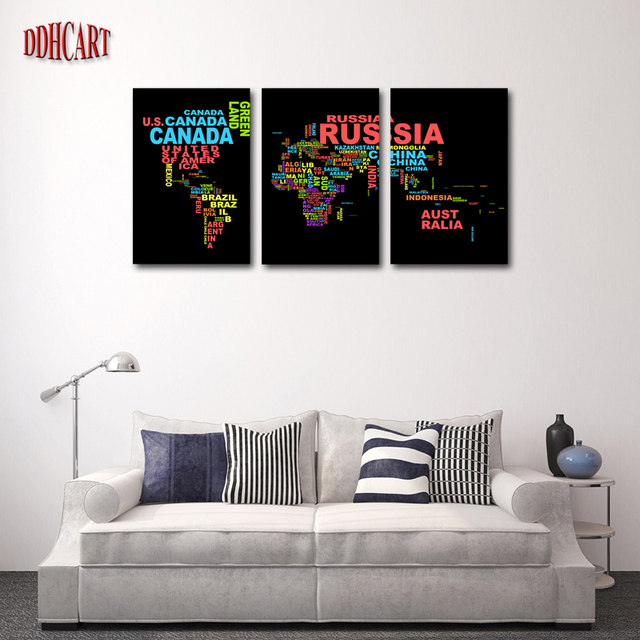 3 piece hot sell word map modern home wall decor canvas picture art hd print painting