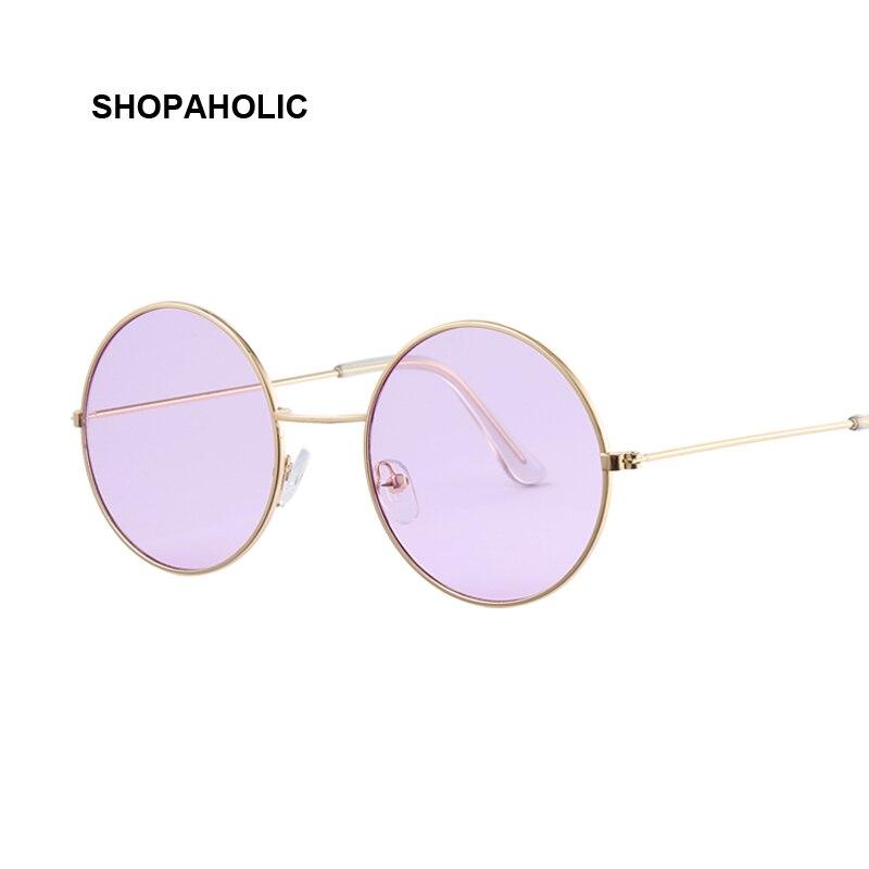 Винтаж круглый Солнцезащитные очки для женщин Для женщин Ocean Цвет объектив зеркало Солнцезащитные очки для женщин Женский Бренд Дизайн металла Рамки круг Очки Óculos UV400