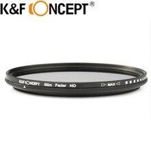 K & F Concept 40.5-82 мм Тонкий Fader переменной ND фильтр Регулируемый ND2 к ND400 нейтральной плотности для Canon 7D 50D 60D