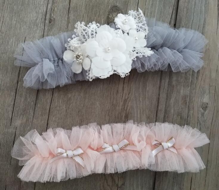 Wedding Garter Flower Pearl Garter Handmade Bowknot Garter Gatsby Style Plus Size Elasticity Garter