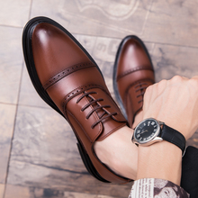 2018 NewTrend Leather Men Shoes Brown  Black Dress Shoes For Male Thick Soled Casual Shoes Men Rubber Sole Mens Fashion Footwear