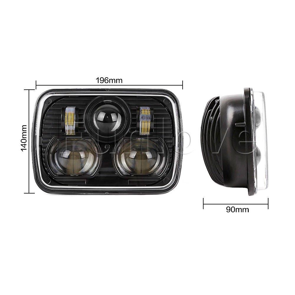 Black 5 X 7 LED Headlights Replacement for Jeep Cherokee XJ Trucks (6)