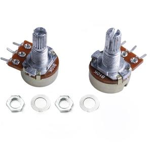 2Pcs B10K Linear Potentiometer 15mm Shaft With Nuts And Washers 3pin WH148 1K 2K 5K 20K 50K 100K 250K 500K 10K 103 Resistance 1M