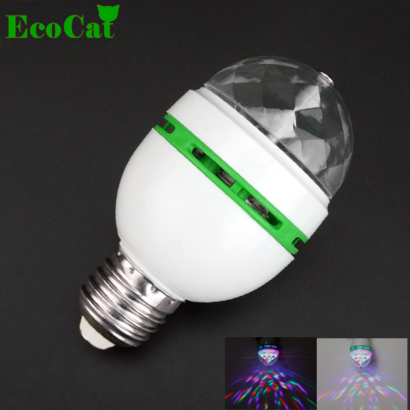 ECO CAT 1Pcs 3W RGB LED lamp E27 AC 110V - 220V Auto Rotating Stage lights Magic Ball Bulb For Home DJ Party Dance Decoration