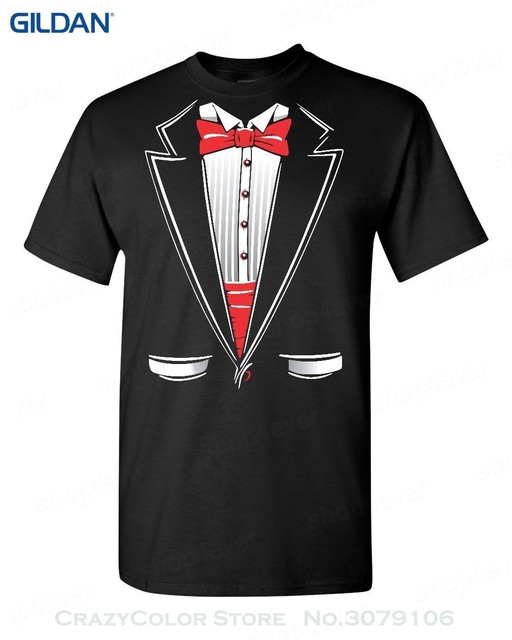 100% Cotton Short Sleeve O-neck Tuxedo Funny T-shirt Humor Wedding Gift  Funny School Prom Suit Costume Tee 1b5762a40