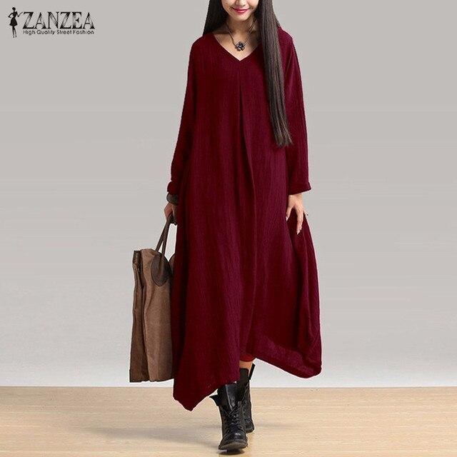 ZANZEA Женщины 2017 Осень Длинные Maxi Dress Vintage Sexy V Шеи Длинным Рукавом Случайные Свободные Твердые Нерегулярные Dress Негабаритных Vestidos
