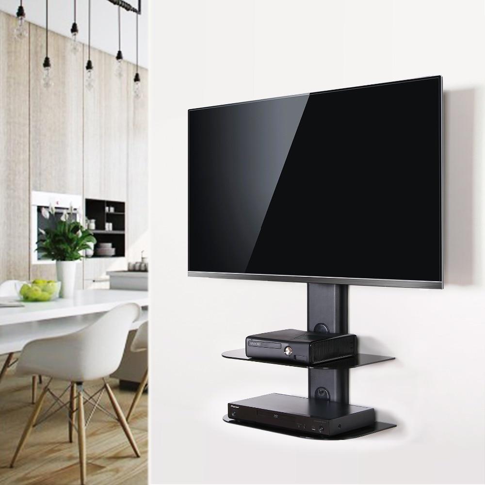 Fenge girevole tv montaggio a parete con nero 2 tires mensola ...