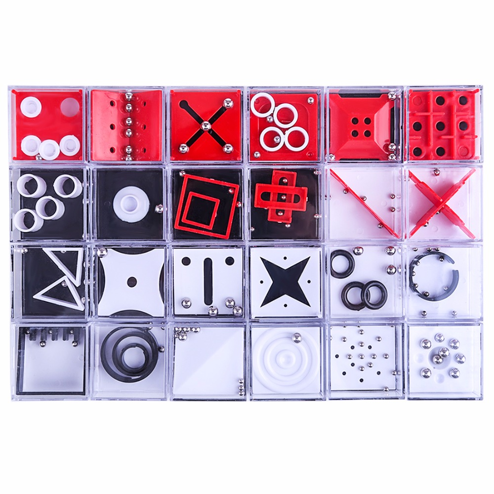 New 24Pcs/set Balance Maze Game Puzzle Boxes With Steel Ball Brain Teaser Educational Toys Gift Decompression Toy For Kid Adult