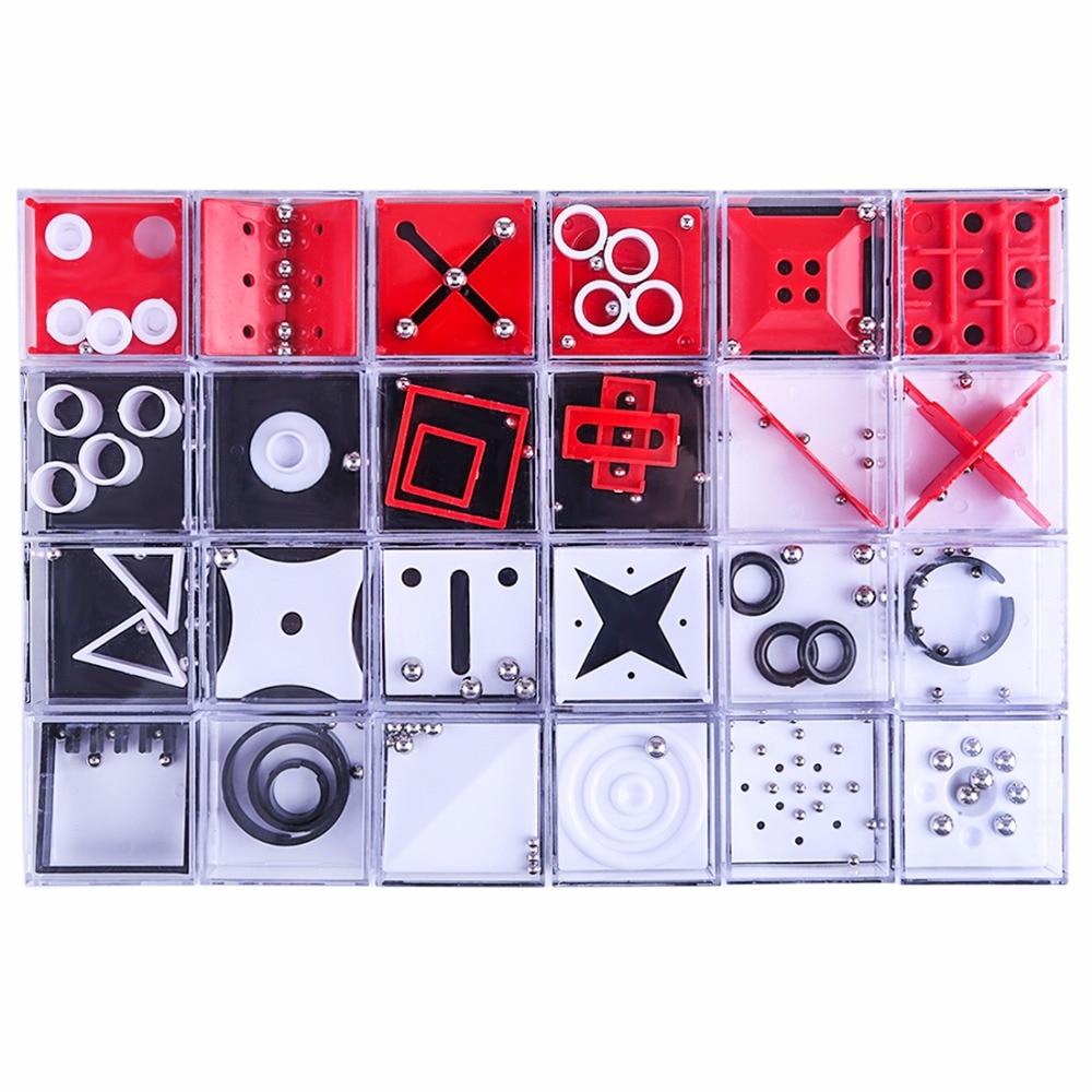 Nova 24 pçs/set Equilíbrio Labirinto Jogo de Puzzle Cérebro Teaser de Caixas com Esfera de Aço Brinquedo Descompressão Brinquedos Educativos Presente para o Miúdo adulto