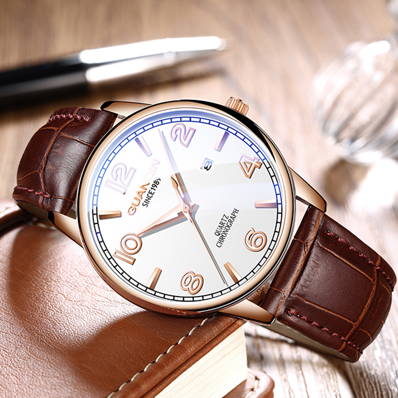 GUANQIN Mens Watches Top Brand Business Simple Style Quartz Watch Men Luminous Date Waterproof Wrist Watch Luxury Male Clock цена и фото