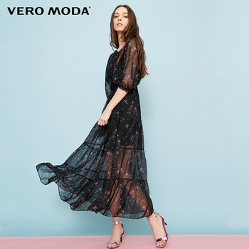 Vero Moda Lace-up Neck 3/4 Sleeves Printed Dress | 31837C528