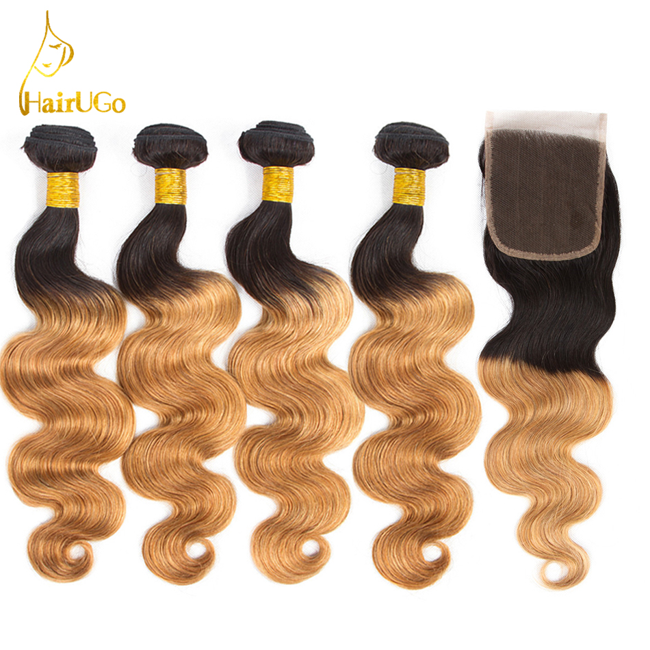 HairUGo Hair Malaysia Body Wave Bundles With Closure Pre-colored Ombre Color 1B/27 Hair Extention Bundles With Closure Non-Remy ...