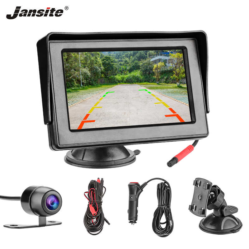 "Jansite 4.3"" TFT LCD Car Monitor Display Cameras Reverse Camera Parking System for Car Rearview Monitors reverse image NTSC PAL"