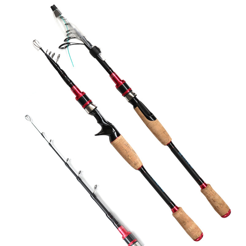 1.98m 2.7m carbon telescopic spinning fishing rod bait casting lure rod squid boat rock stick hard short pesca pole-in Fishing Rods from Sports & Entertainment