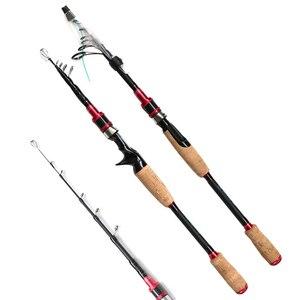 Image 1 - 1.98m 2.7m carbon telescopic spinning fishing rod bait casting lure rod squid boat rock stick hard short pesca pole