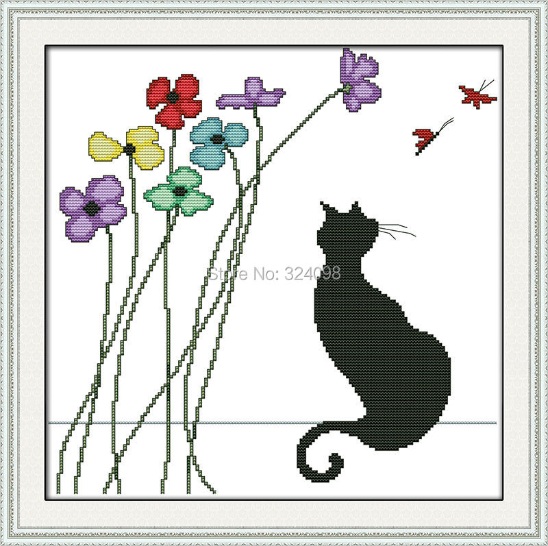 Wholesale Needlework,Stitch,DIY 14CT DMC Cross Stitch,Sets For Embroidery Kits,Black cat and flowers Counted Cross-Stitching