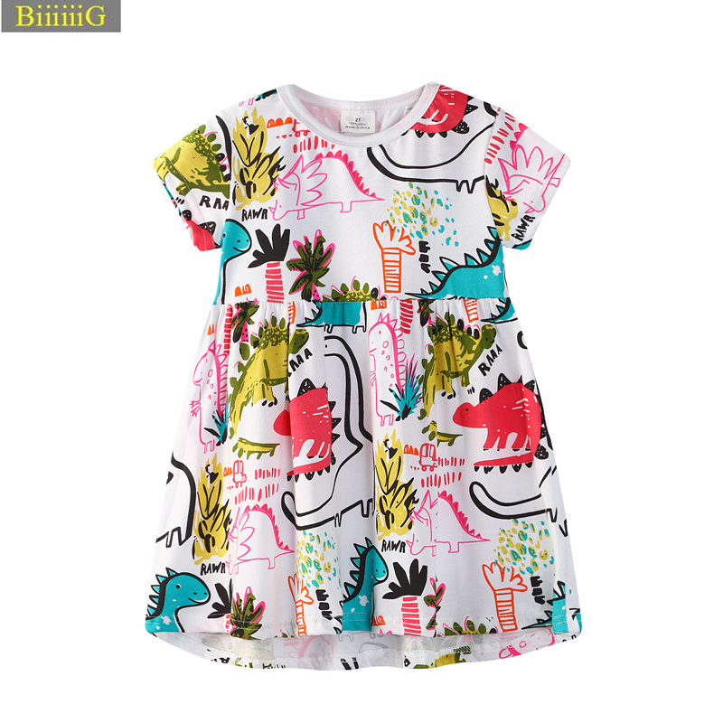 Casual Girl Summer Graffiti Dinosaurs Dress Kids Short Sleeve Party Clothes Princess Dresses 2018 New Brand Children Clothing 2y laser copier color toner powder for xerox docucolor 240 242 250 252 260 workcentre 7655 7665 7675 wc7655 wc7665 wc7675 printer