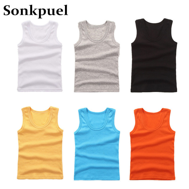 2-11Y Kids Baby Boys Vests T-shirts Children Summer Vest Top Outfit Kid Boy Girl Solid Tops Clothes Cotton Tees Black Playsuits