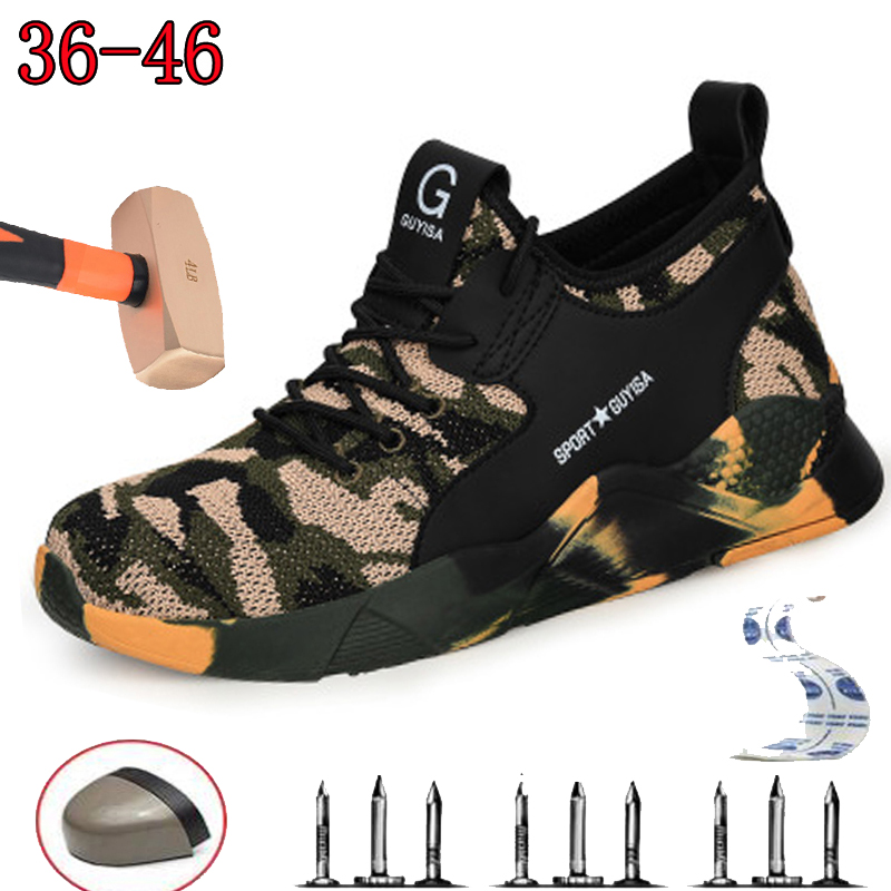 Labor Insurance Shoes Men's Anti-smash Penetrating Gas Summer Casual Hiking Shoes Deodorant Fashion Camouflage Safety Shoes