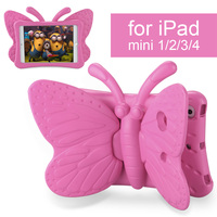 ילדים קייס בטוח עבור iPad mini 1 2 3 4, 3D Cartoon פרפר סטנד עמיד הלם mini4 mini2 mini1 mini3 Tablet Case כיסוי עבור אפל