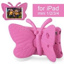 Kids Safe Case for iPad mini 1 2 3 4, 3D Cartoon Butterfly Stand Shockproof Tablet Case Cover for Apple mini1 mini2 mini3 mini4