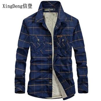 XingDeng Velvet Brand 100% Cotton fashion Warm Men Shirts Fleece lined Plaid Plus Windbreaker Casual Male Winter Snow  Blouses