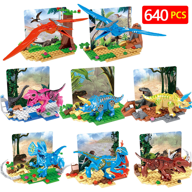 Jurassic World Building Blocks LegoINGLYS Dinosaur Prehistoric Animal Fun Action Figures Plastic Bricks Toys For Children