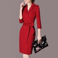 2018 Bahar OL Zarif Ofis Işleri Uzun Kollu Elbise Kanatlar Kadın İş Bodycon Elbise Casual Bayanlar Kırmızı Siyah Elbiseler