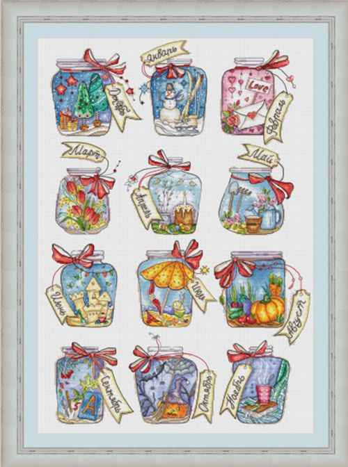 Gold Collection Counted Cross Stitch Kit Jar Love View Twelve Bottles Bottle Jars