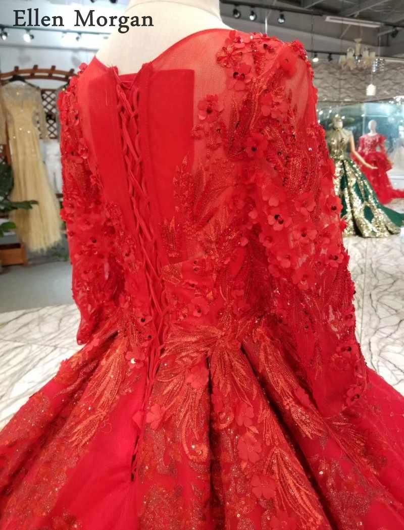 4d0b6842b7 ... Red Glitter Long Sleeves Ball Gowns Wedding Dresses 2019 Beaded Custom  Made Real Photo Puffy Saudi