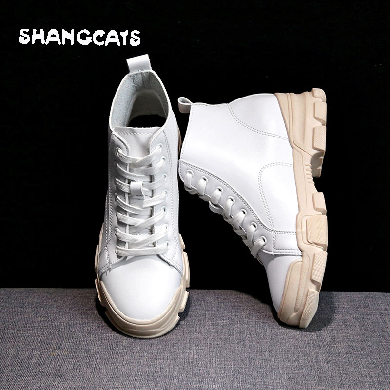 2018 winter Women Vulcanized Shoes Fashion Ladies Shoes Lace up Casual White Shoes Woman Sneakers winter High top Obuwie damskie