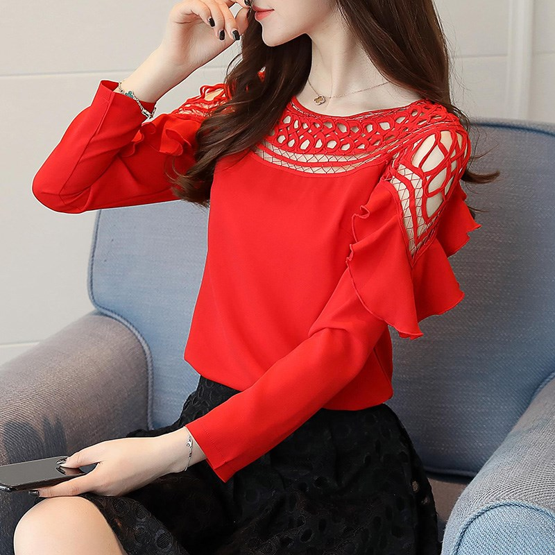 New Chiffon Blouse and Tops Women Hollow Out Shirts Women's Ruffled Slash Neck Long Sleeve Blouses