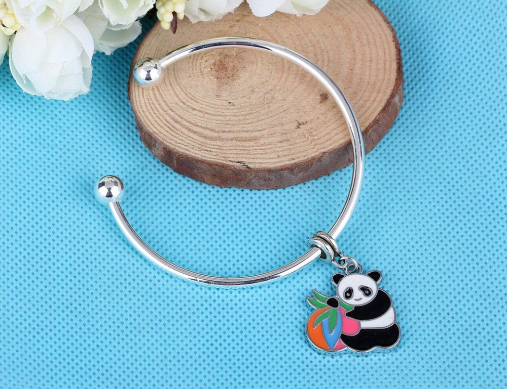 Enamel Pandas Eat Bamboo Charms Copper Opening Smooth Face Cuff Bracelets Bangles Vintage Silver For Women Jewelry Fashion H253
