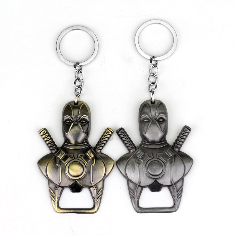 Hot Sell Comics X Men Anti Hero Deadpool Key Chain Beer Bottle Opener Key Rings For Gift Car Key Holder Souvenir Access