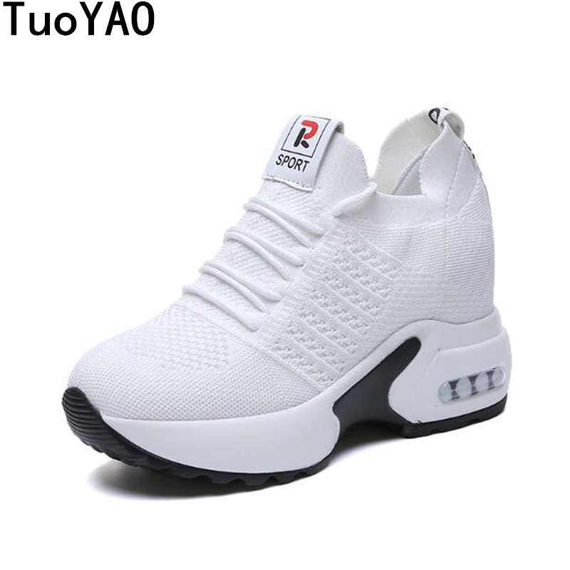 2019 New Women Platform Casual Shoes Mesh Breathable Wedge Heels Shoes 9 CM Spring Thick Sole Sneakers Woman Deportivas Mujer sneakers