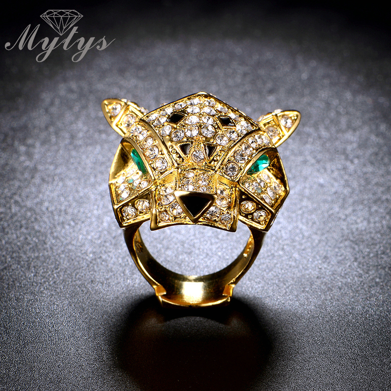 Mytys Animal Leopard Ring Gold Pave Setting Crystal Dazzling Fashion Party Ring For Women R1109 R1110