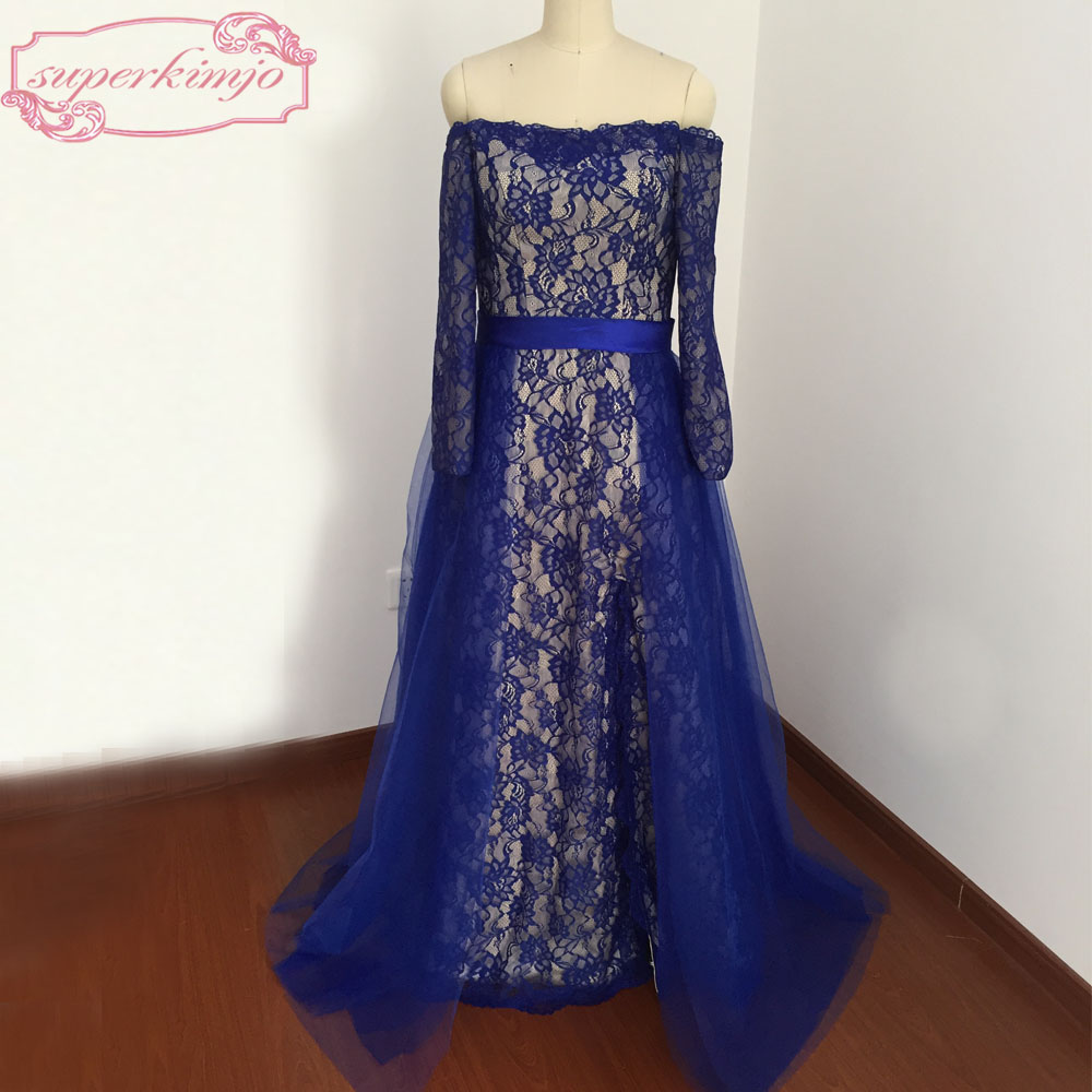 Sexy Evening   Dresses   Floor Length Off the Shoulder Lace Side Slit Royal Blue   Prom     Dresses   Real Picture
