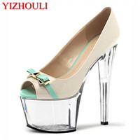 Super high heel 17 cm, female, sexy stiletto waterproof platform fish mouth shoes, bow decoration, high heels