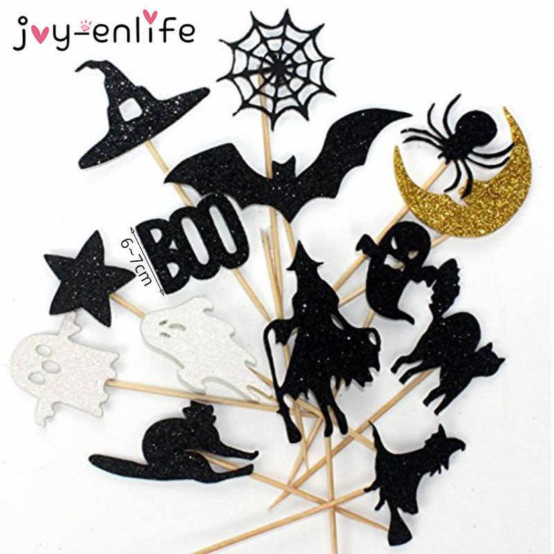 14pcs de Coco Do Queque Do Dia Das Bruxas Bruxa Fantasma Morcegos Gato Aranha Cupcake Bandeiras Feliz Festa de Halloween Decoração Suprimentos