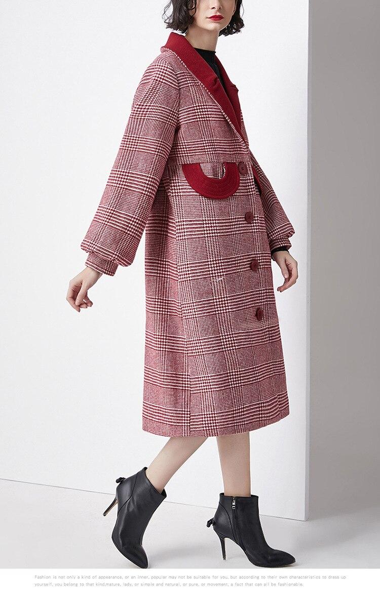 Wollen Jas Rode Winter Herfst 2018 Vrouwelijke Plaid Enkele Breasted Wollen Dikke Warme Lange Uitloper Overjassen Jacket Jassen Kasjmier Dame - 5