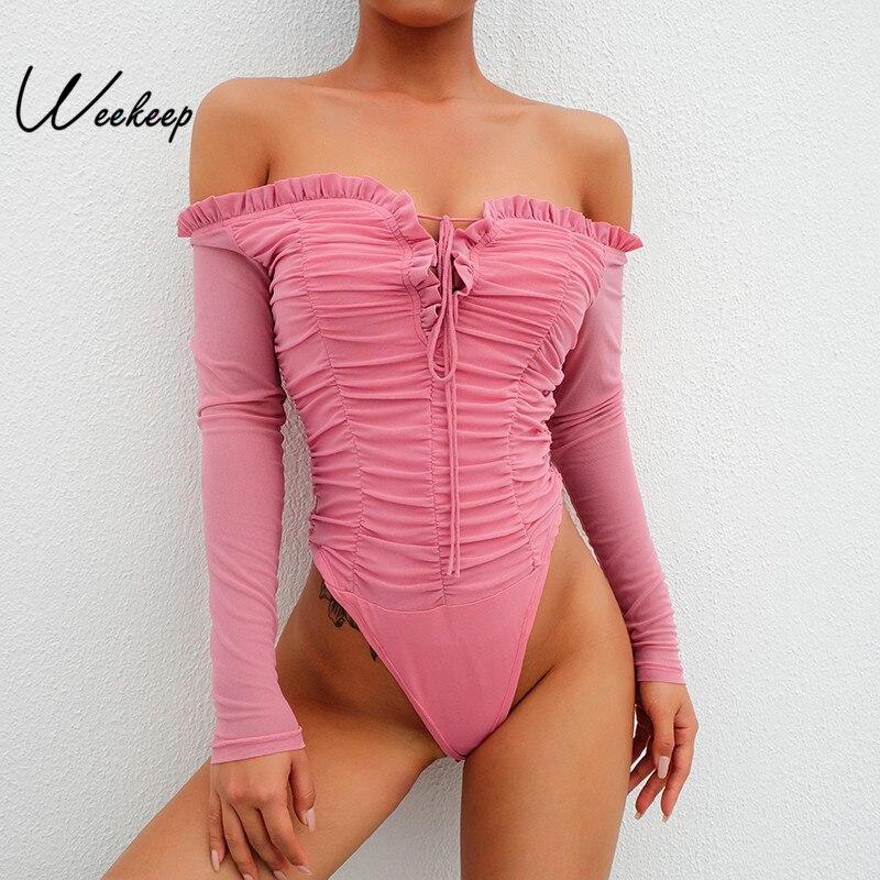 Weekeep Women Slash Neck Bandage Long Sleeve Bodysuit Sexy Bodycon Pink Mesh Bodysuits High Street 2018 Rompers Women   Jumpsuits