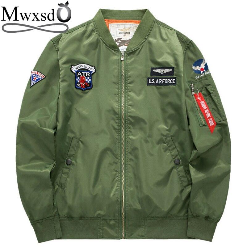 autentico 68cb0 a6c6e US $22.0 51% di SCONTO|Mwxsd uomini di marca aria bomber militare esercito  pilota giacca volo giacca maschile Air Force uomo air force giacca A ...