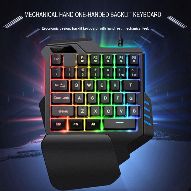 35 keys one hand wired gaming keyboard mechanical feel rgb backlit floating keycap design with. Black Bedroom Furniture Sets. Home Design Ideas