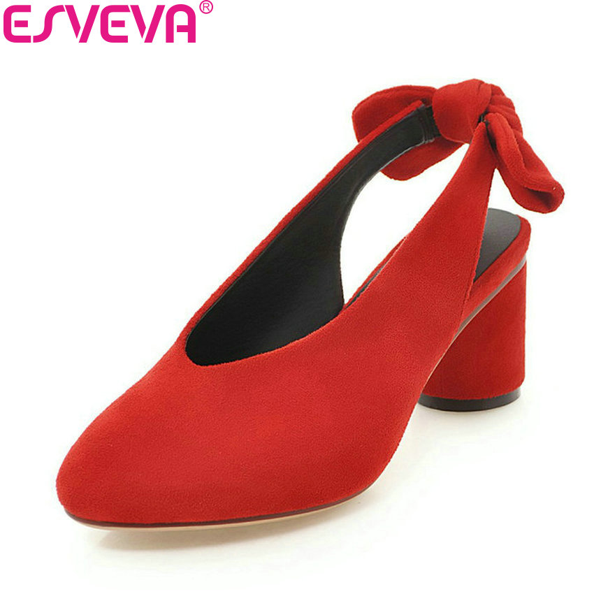 ESVEVA 2018 Women Pumps Flock Square High Heels Butterfly-knot Pumps Shoes Spring and Autumn Sweet Style Shoes Woman Size 34-43 egonery shoes 2017 spring and autumn concise wedges butterfly knot pumps simple lace up sweet round toe women fashion high heels
