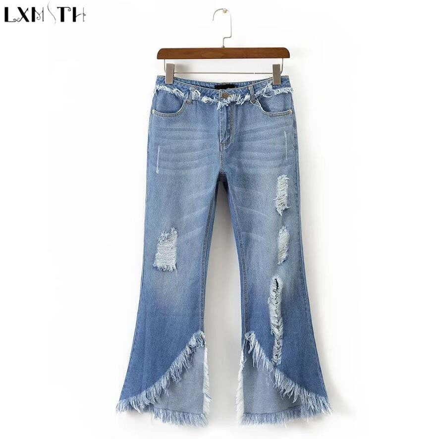 LXMSTH Denim Pants Casual High Waisted Slim Thin Light Blue Hole jeans Women Fashion Tassels Flare Pants Female jeans Trousers l02 stylish retro high waisted denim jeans shorts light blue xl