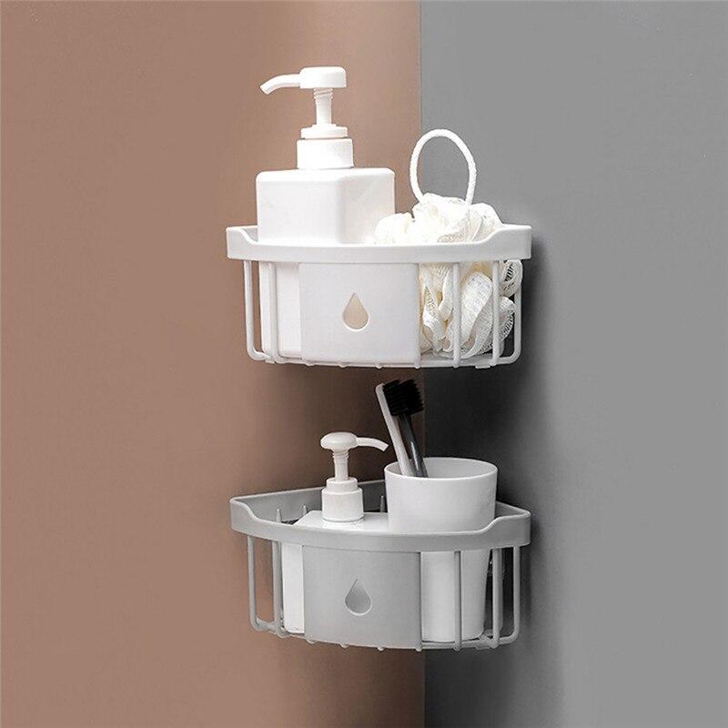 Wand Bad Dreieck Ecke Lagerung Regal Shampoo Seife Kosmetik Halter Mit Haken Kleiderbügel Bad Lagerung Rack Badezimmerarmaturen Bad Hardware